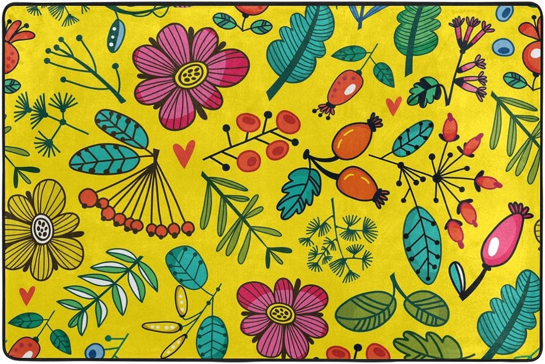 Alaza área Colorida Flor Amarillo Rug 4 x 6 pies, salón Dormitorio Cocina Decorativos