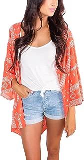 Womens Floral Kimono Loose Half Sleeve Chiffon Casual Cardigan Cover Up
