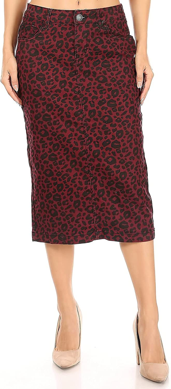Fashion2Love Women's Juniors/Plus Size Calf- Length Pencil Stretch Twill Skirt (77920)