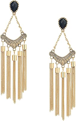 GUESS - Stone Top Chain Fringe Linear Earrings