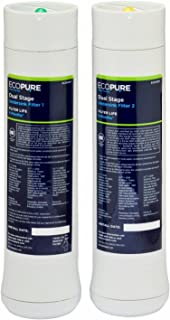 EcoPure Dual Stage Under Sink Replacement Water Set (ECODWF) | NSF Certified | Fits ECOP20 System | 6-Month Filter Life