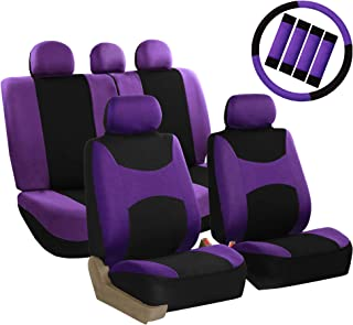 FH Group FB030PURPLE-COMBO Seat Cover Combo Set with Steering Wheel Cover and Seat Belt Pad (Airbag Compatible and Split Bench Purple)