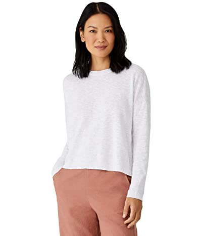 Eileen Fisher Organic Cotton Linen Slub Crew Neck Box Top (White) Women
