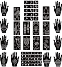 Xmasir Henna New Design Tattoo Stencil Kit 22 Sheets,Temporary Tattoo Temples Indian Arabian Tattoo Stickers for Hands Body Art