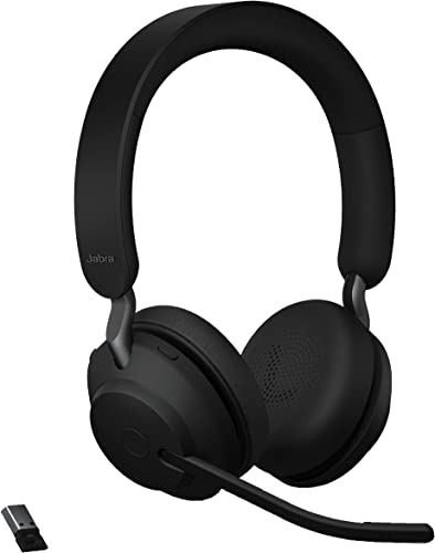 high quality Jabra Evolve2 65 online MS online Wireless Headphones with Link380a, Stereo, Black – Wireless Bluetooth Headset for Calls and Music, 37 Hours of Battery Life, Passive Noise Cancelling Headphones online sale