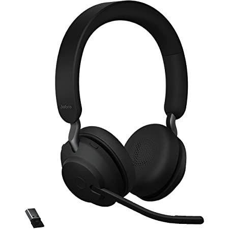 Jabra Evolve2 65 UC Wireless Headphones with Link380a, Stereo, Black – Wireless Bluetooth Headset for Calls and Music, 37 Hours of Battery Life, Passive Noise Cancelling Headphones