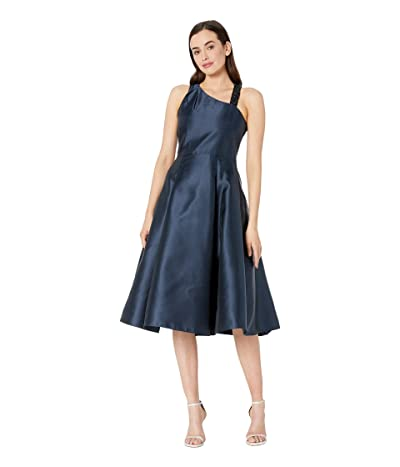 Adrianna Papell Asymmetrical Mikado Fit and Flare Cocktail Dress (Midnight) Women
