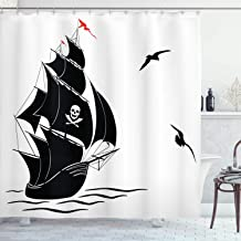 Ambesonne Pirate Shower Curtain, Silhouette of Old Sail Pirate Ship Flying Seagulls Ocean Waves Jolly Roger, Fabric Bathroom Decor Set with Hooks, 70 inches, Black White Red