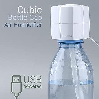 Portable Mini Air Humidifier - Cubic Ultrasonic Mist Diffuser for Home Office Car Travel - Best USB Bottle Cap Vaporizer fits 750 ml 500 ml 330 ml plastic bottles - Cool Mist Moisturizer (White)