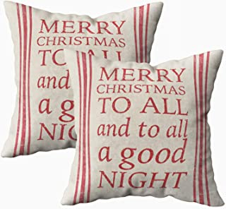 Musesh Pack of 2 night before christmas grain sack inspired Cushions Case Throw Pillow Cover For Sofa Home Decorative Pillowslip Gift Ideas Household Pillowcase Zippered Pillow Covers 20X20Inch