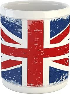Lunarable British Mug, Abstract England London Flag Old Vintage Like Print with Shadow Print, Ceramic Coffee Mug Cup for Water Tea Drinks, 11 oz, Navy Blue