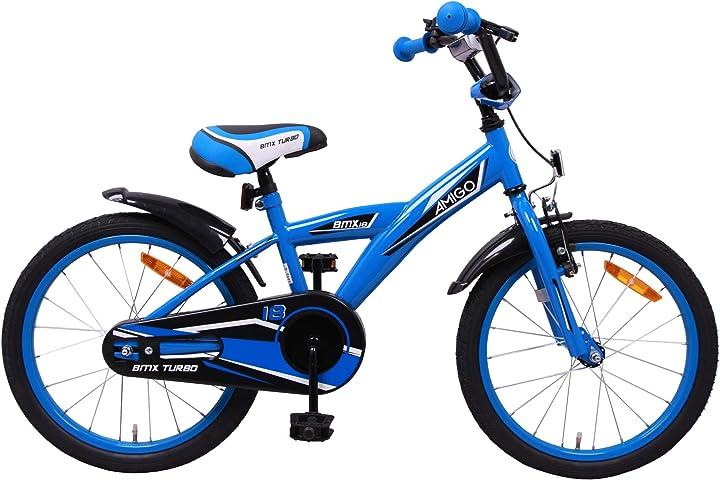 Bicicletta per bambini 18 pollici - per bambino di 5-8 anni - freno a mano, amigo bmx turbo 404625