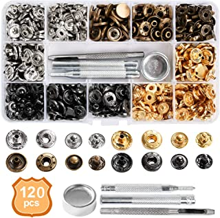 BUYGOO 120 Sets Leather Snap Fasteners Kit, Metal Button Snaps Press Studs with 4 Installation Tools, 4 Color Leather Snaps for Clothes, Jackets, Jeans Wears, Bracelets, Bags
