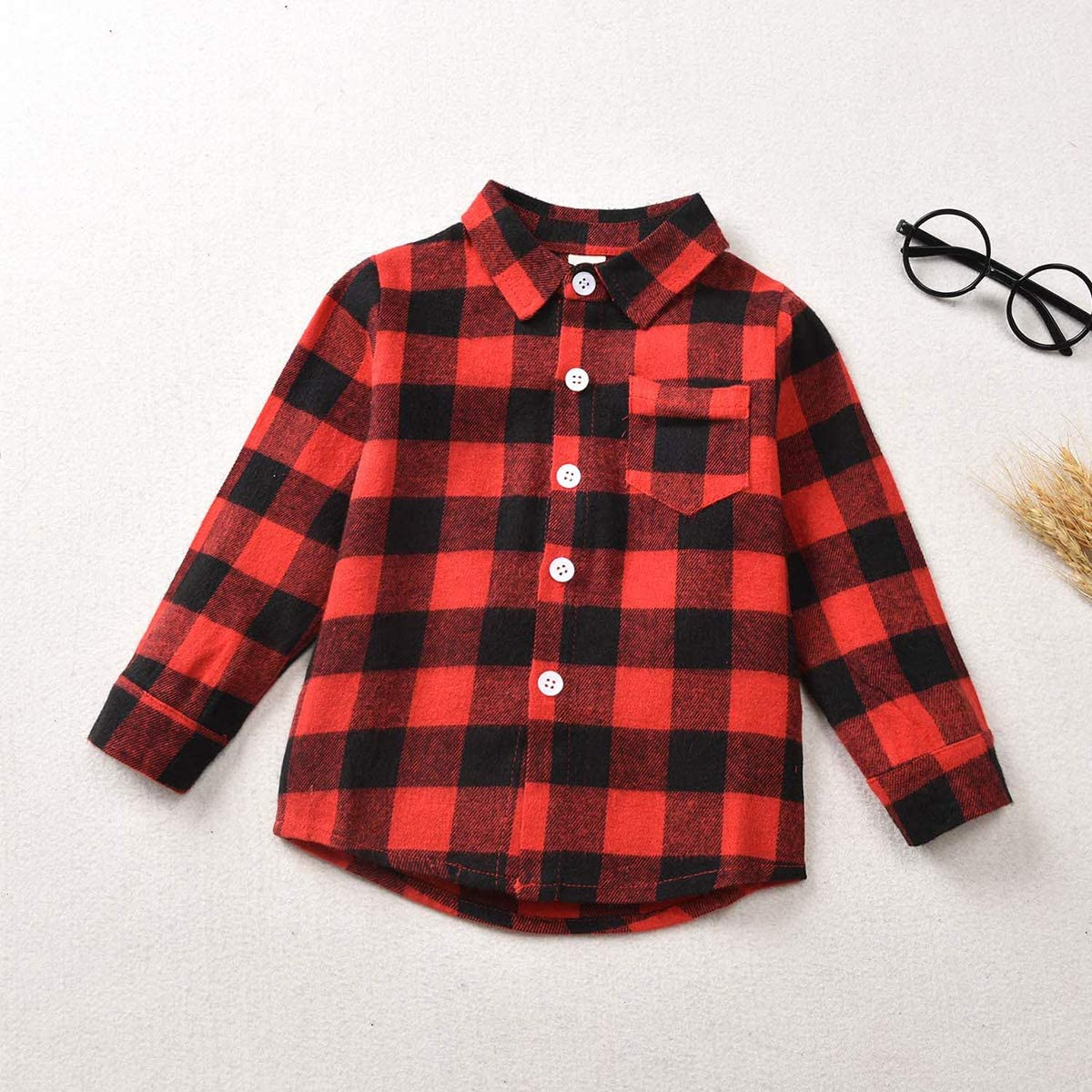 Toddler Baby Boy Girl Plaid Shirt Long Sleeve Button Down Red Flannel Tops Clothes