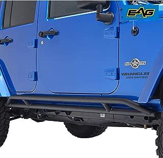 EAG 4 Door Side Armor Rocker Guard Rock Slider Black Pair Fit for 07-18 Jeep Wrangler JK