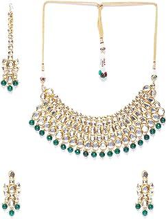 مجموعة CHETAN Partywear مطلية بالذهب قلادة أقراط للنساء أطقم مجوهرات بوليوود كوندان