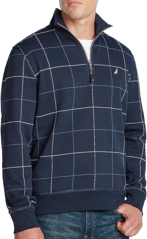 Nautica Men's Quarter Zip Fleece (Navy, Medium)
