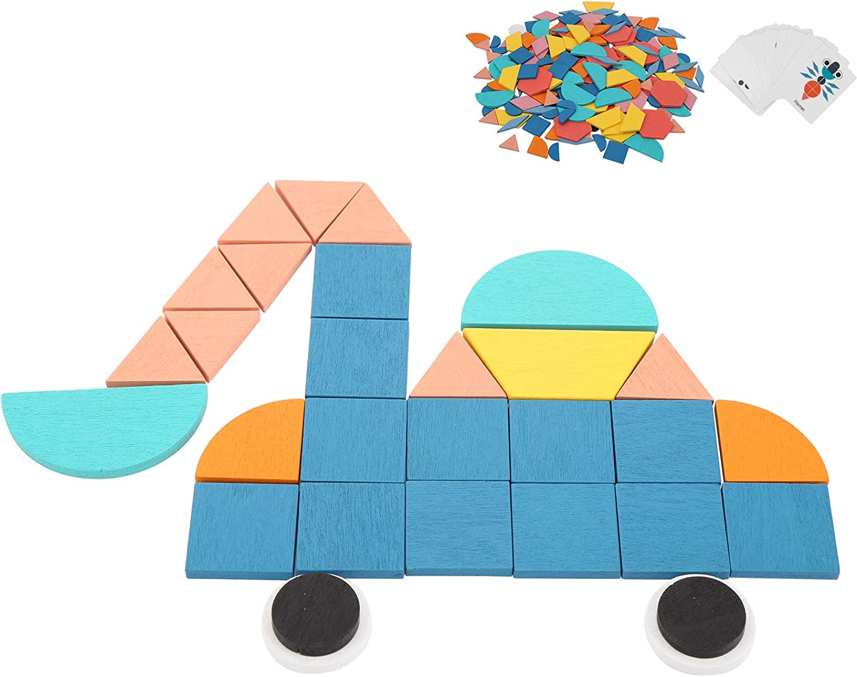 Rompecabezas de Tangram de 180 Piezas nobrands Puzzle Toy-Wooden Pattern Blocks Set Rompecabezas de Forma geom/étrica Rompecabezas Educativo Juguete para ni/ños