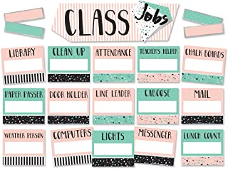 Eureka Pink and Green Confetti Pattern Student Class Jobs Bulletin Board Set and Classroom Decorations for Teachers, 44pcs