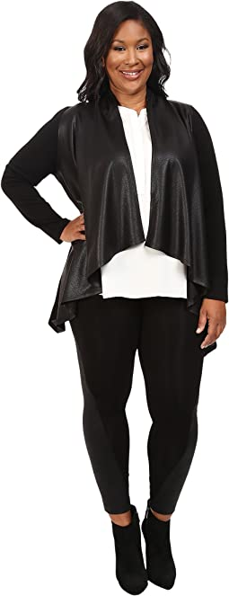 Karen Kane Plus - Plus Size Faux Leather Front Knit Jacket