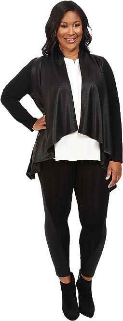 Karen Kane Plus - Plus Size Faux Leather Front Knit Jacket