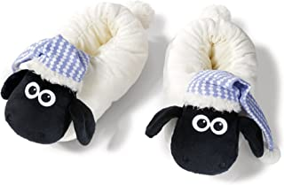 NICI 41475聽Shaun The Sheep Slippers with Night Cap, 34-37, Color White/Black