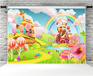 Sweet Candy Land Photo Backdrop 7x5ft Vinyl Cartoon Rainbow Lollipop Photo Studio Booth Props Baby Newborn Party Decorations