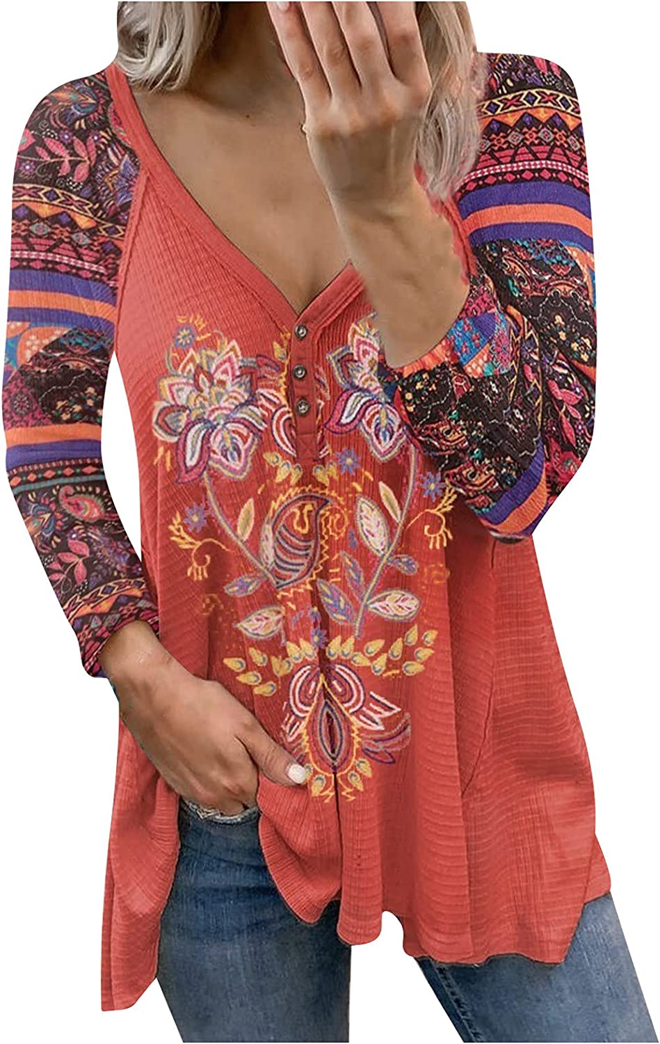 TIMIFIS Womens Long Sleeve Tops for Fall Fashion Print Tunic Tops Sexy V Neck Shirts Loose Fit Pullover
