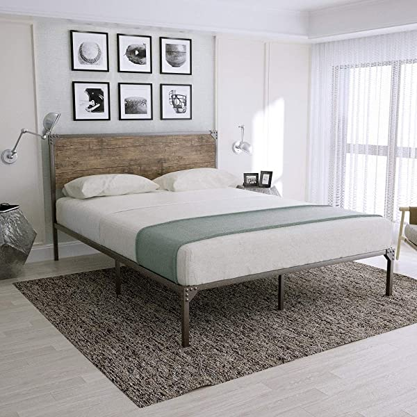 Amolife Platform Bed Frame Mattress Foundation No Box Spring With Headboard Easy Assembly Full