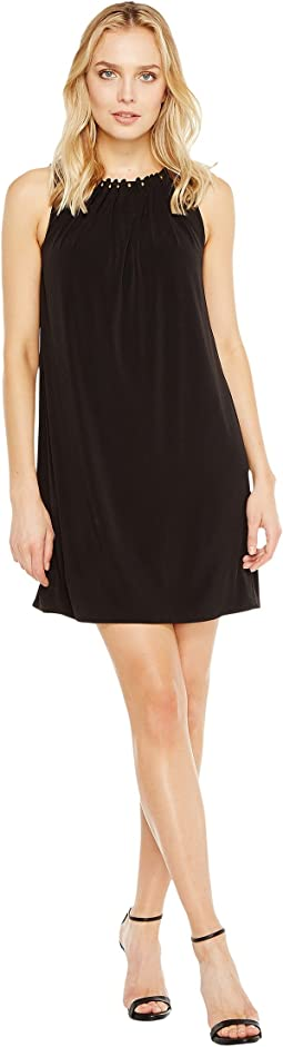 Tahari by ASL - Jersey Shift Dress with Gold Necklace