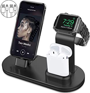 OLEBR 3 in 1 Charging Stand Compatible with iWatch Series 4/3/2/1, AirPods and iPhone Xs/X Max/XR/X/8/8Plus/7/7 Plus /6S /6S Plus/9.7 inches iPad (Original iWatch Charger Required) - Bright Black