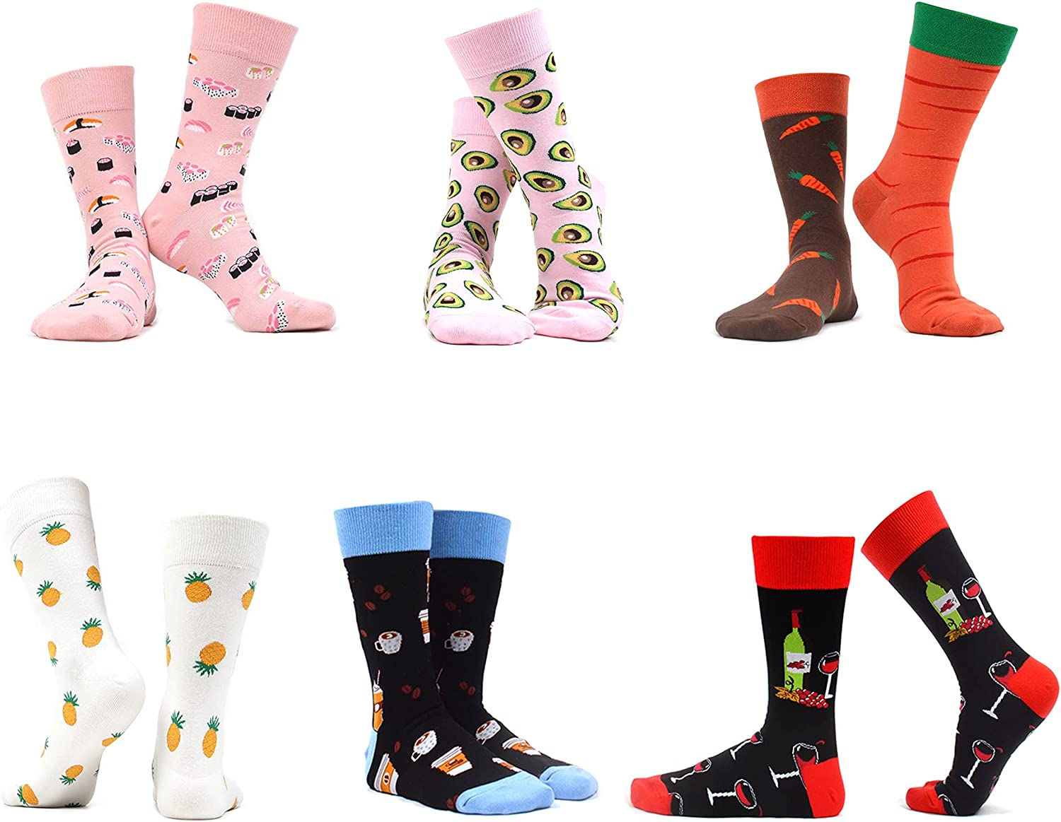 WAZATE Women's Colorful Patterned Cute Funny Casual Fashion Novelty Crew Socks