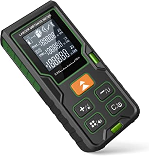 Laser Measure, EURPMASK Laser Measure 164Ft M/In/Ft Mute Laser Distance Meter with 2 Bubble Levels, Backlit LCD and Pythagorean, Measure Distance, Area and Volume - Carry Bag and Battery Included