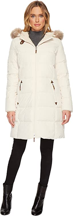 LAUREN Ralph Lauren Faux Leather Trim Hooded Down w/ Berber