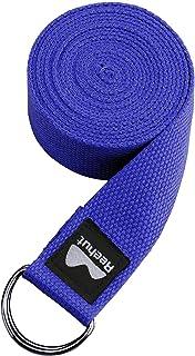 comprar comparacion REEHUT Correa para Yoga (1.8m, 2.4m, 3m) - Cinturón con Hebilla Metal D-Anillos de Poliéster Algodón Resistente para Ejerc...