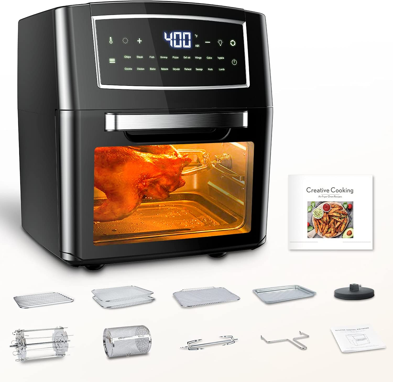 12.7QT Air Fryer Oven, 18 in 1 Toaster Convection Oven, BPA-free Toaster Oven for Grill, Roast, Fry, Pizza, Reheat, Food Dehydrator, 1500W AirFryer with 10 Accessories and Recipe