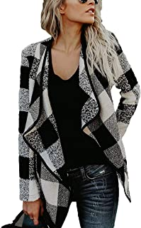 Womens Plaid Shawl Collar Cardigan Long Sleeve Draped Open Front Casual Jackets Outwear
