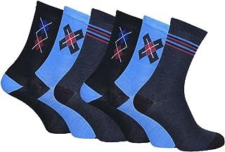 6 pares de hombre en caja de regalo de la pantorrilla Calcetines con el confort del dedo del pie costuras 4 estilos 39-45 Eur
