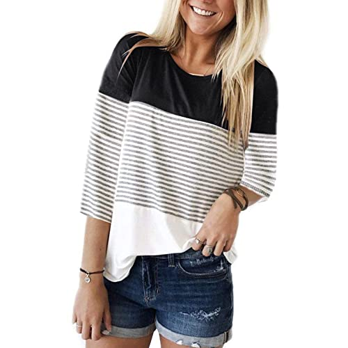 e0da5ef9263 INWECH Women's Comfy Round Neck Triple Color Block Stripe T-Shirt 3/4 Sleeve