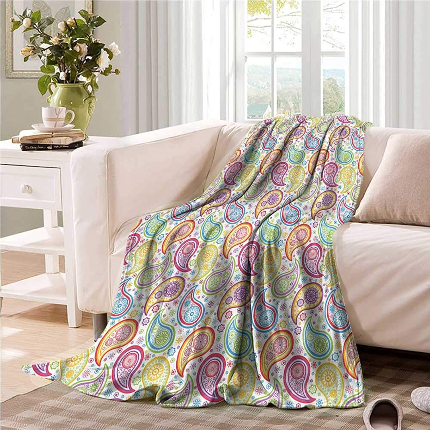 Oncegod Nap Blanket Paisley colord Pattern Flower Camping Throw,Office wrap 60  W x 51  L