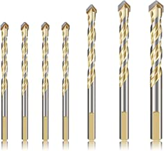 7-Piece Drill Bits Set for Metal Concrete Tile Glass Plastic Wood, YUERSEAK Tungsten Carbide Tip Masonry Drill Bits for Wall Mirror Ceramic Tile on Concrete and Brick Wall, YG8 Hard Alloy (Gold)