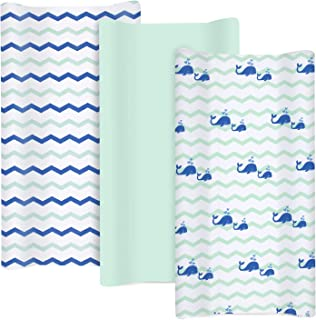 TILLYOU Jersey Knit Changing Pad Covers 170 GSM - Thicker Softer Diaper Change Table Sheets for Baby Girls Boys- Fit 32