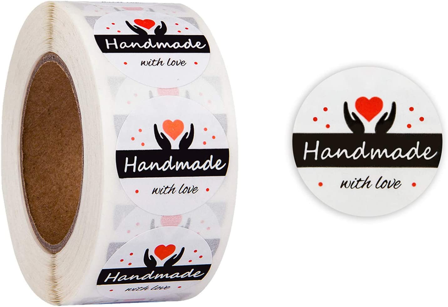 FUNWALTILES Handmade with Love 500pcs Wedding Gift Decoration Mail Seals Roll Labels Sticker Round 1