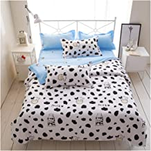 Cow Print Duvet Cover Set Twin Size, Animal Cow Decorative 3 Piece Bedding Set with 2 Pillow Shams, Black White