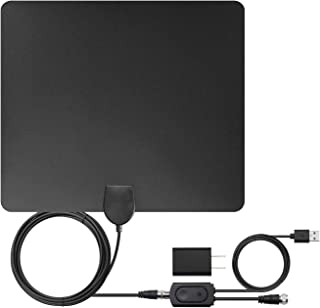 [Newest 2019] Amplified HD Digital TV Antenna, Jialebi Amplified HD Signal Booster Long 60-120 Miles Range Support 4K 1080p VHF UHF Freeview HDTV Channels with 18ft Coax Cable/AC Adapter