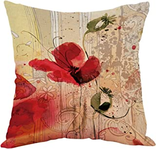 Moslion Flower Pillow,Home Decor Throw Pillow Cover red Poppy Flower Beige Floral Cotton Linen Cushion for Couch/Sofa/Bedroom/Livingroom/Kitchen/Car 18 x 18 inch Square Pillow case