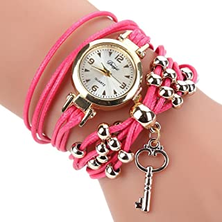 Watches for Women, Paymenow Girls Fashion Watches Boho Bead Key Luxury Bracelet Wristwatch Watches Gift