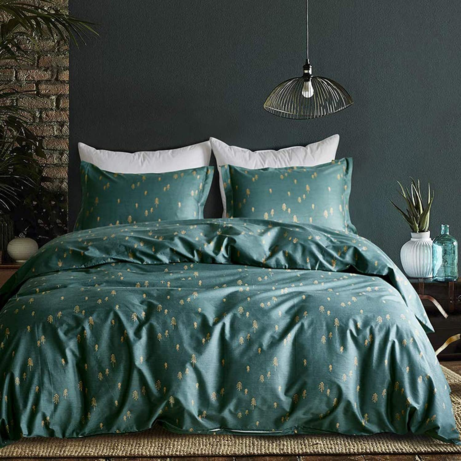 Mixinni 3 Pieces Duvet Cover Set, 100% Natural Cotton,gold Arrows Printed on King Size Green Duvet Cover with Zipper&Ties, 1 Duvet Cover and 2 Pillowcases, Ultra Soft,Breathable-Dark Green