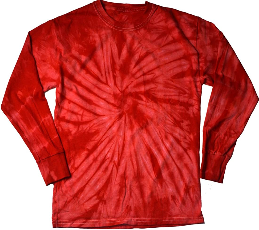 Tie Dye Long Sleeve T-Shirts Multicolor Youth Kids Sizes 100% Cotton