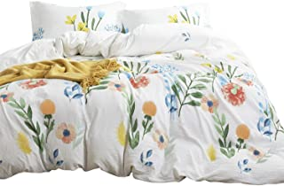 Wake In Cloud - Watercolor Comforter Set, Colorful Floral Leaves Flowers Painting Pattern Printed, 100% Cotton Fabric with Soft Microfiber Inner Fill Bedding (3pcs, Queen Size)